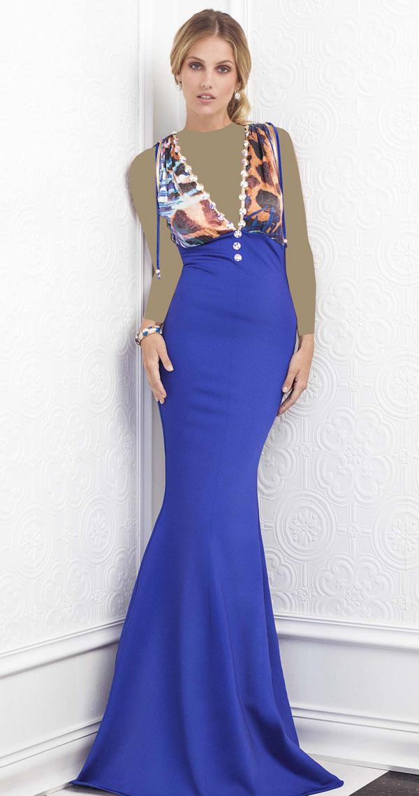 لباس مجلسی دو رنگ یقه هفت