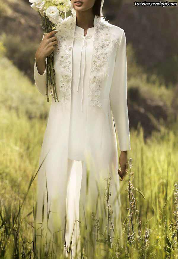 مانتو مجلسی سفید , مانتو عروس بلند