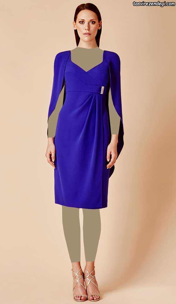 مدل لباس مجلسی آبی کاربنی شنل دار