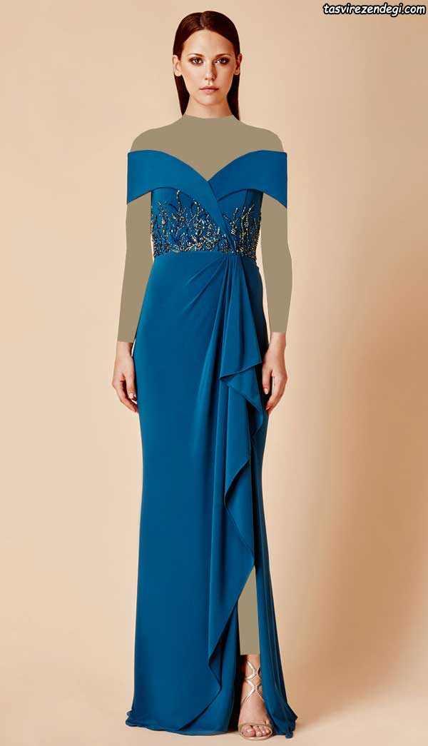مدل لباس مجلسی کار شده آبی بلند