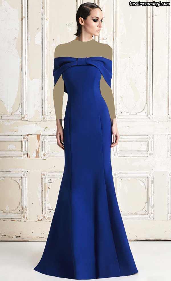 مدل لباس مجلسی آبی بلند دکلته والان دار