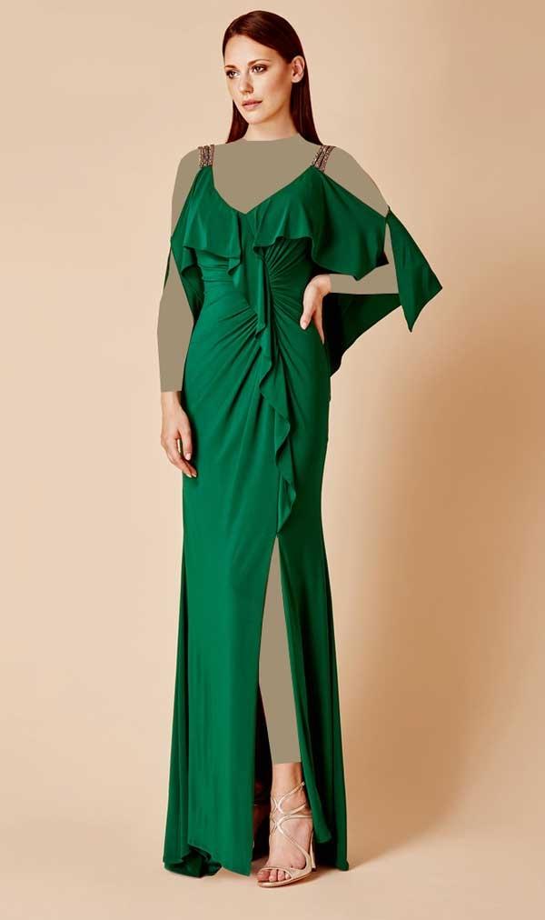 مدل پیراهن مجلسی زنانه بلند سبز رنگ