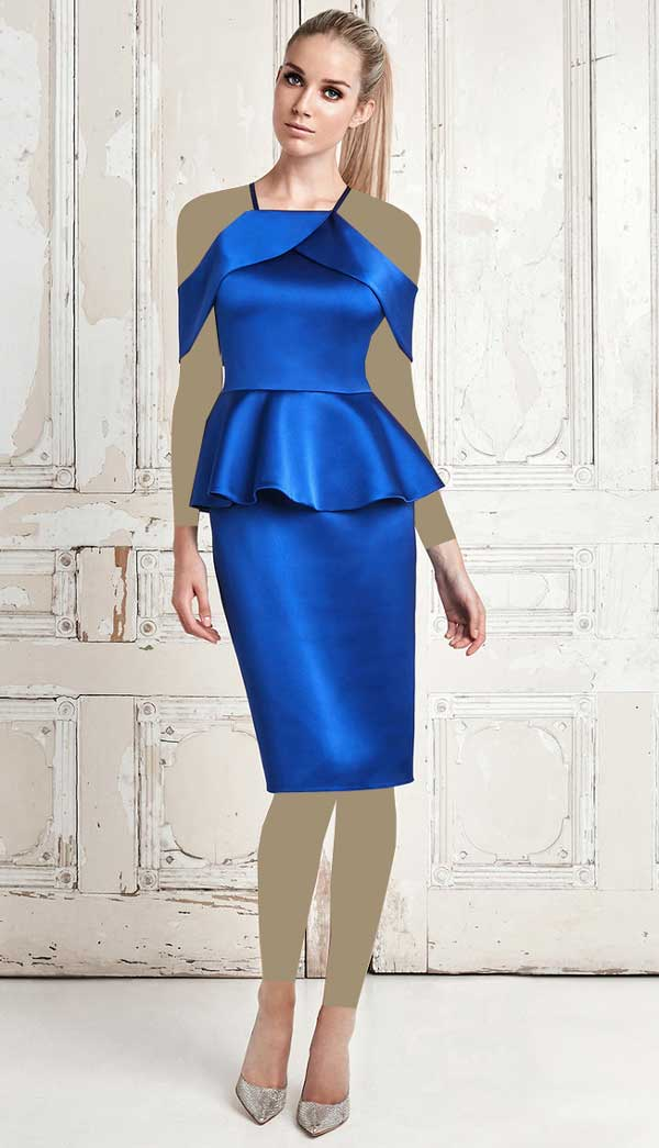 لباس مجلسی آبی براق بالای زانو برای افراد قد کوتاه