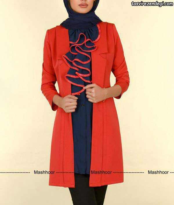 مدل مانتو مجلسی جدید 2018 قرمز و سرمه ای