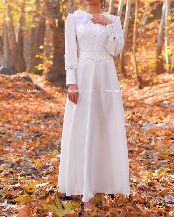 مانتو سفید بلند عروس