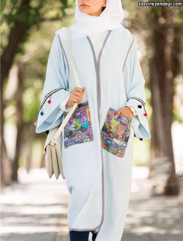 مانتو کیمونو تابستانی بلند با جیب رو و نوار تزیینی