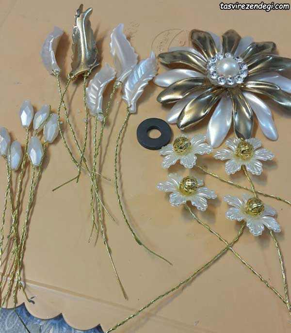 ساخت گل کنار سینی , ریسه کردن گل کریستالی