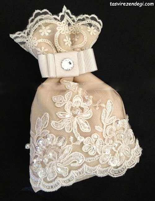 کیسه شاباش عروس تزیین شده با اپلیکه