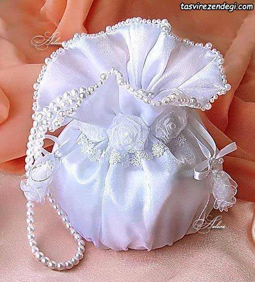 کیسه شاباش عروس مروارید دوزی شده سفید