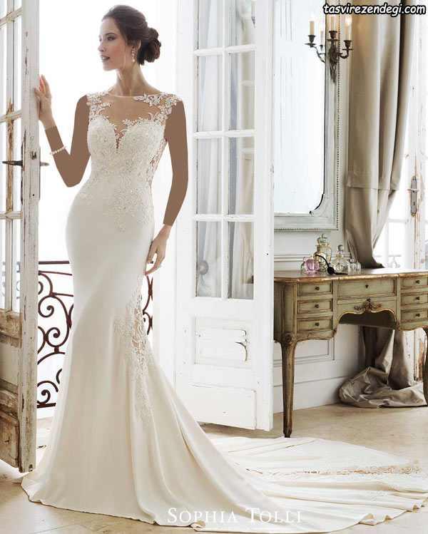 مدل لباس عروس دامن ماهی دنباله دار