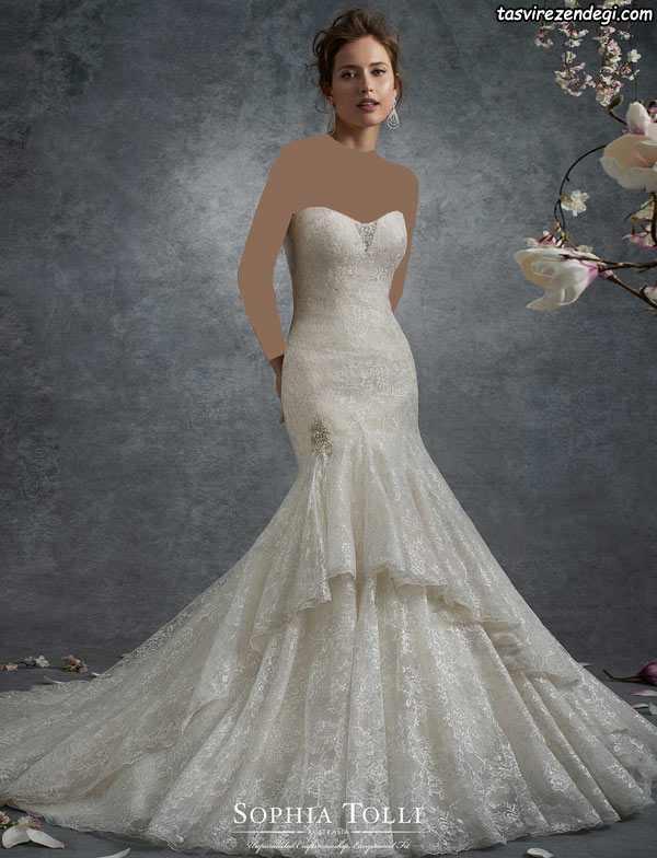 لباس عروس پری دریایی دو دامنه دنباله دار