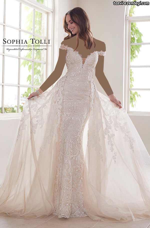 مدل لباس عروس دانتل دامن دنباله دار