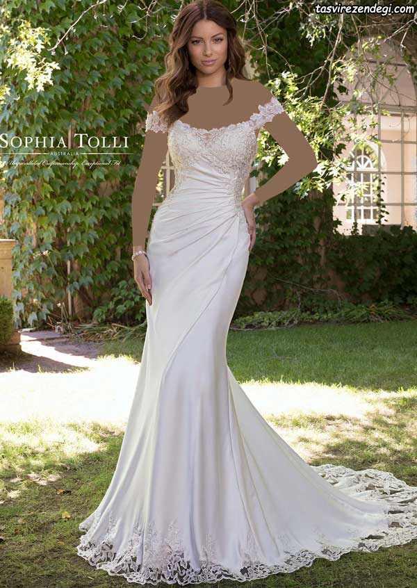 لباس عروس ابریشمی سرشانه باز