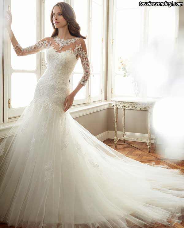لباس عروس دامن ماهی دنباله دار