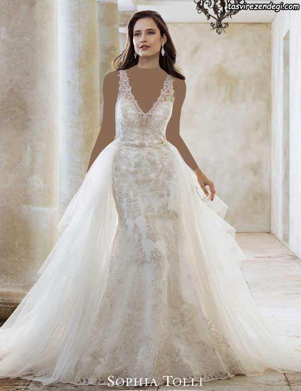مدل لباس عروس دامن دنباله دار