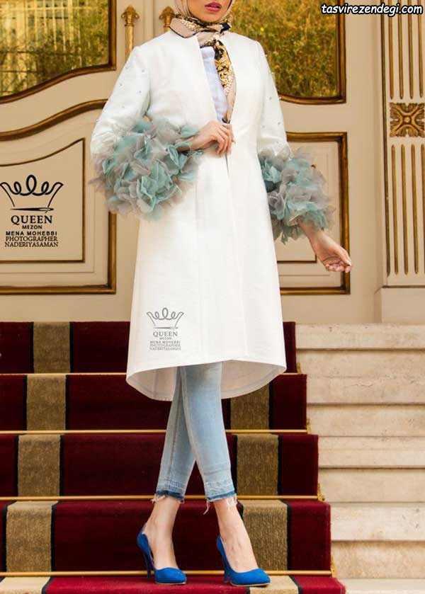 مانتو سفید مجلسی با گل برجسته حریر آبی