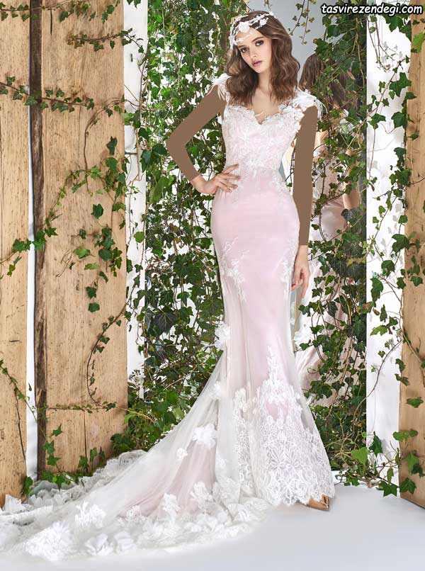 لباس عروس دامن ماهی دنباله دار صورتی روشن
