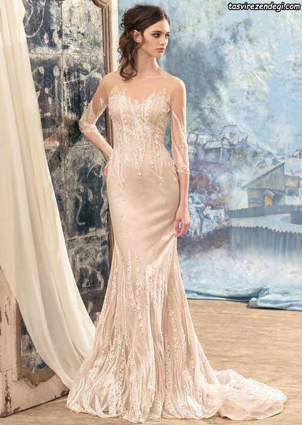 مدل لباس عروس رنگی دامن ماهی
