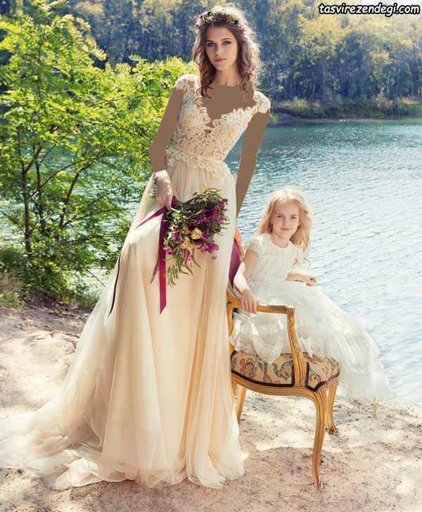 لباس عروس گلبهی روشن