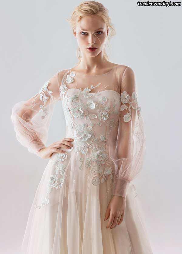 لباس عروس حریر به رنگ روشن