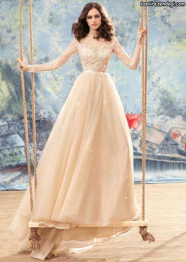 لباس عروس رنگی آستین دار