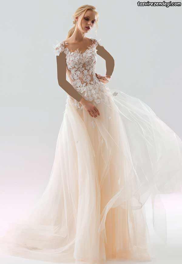 لباس عروس رنگی حریر