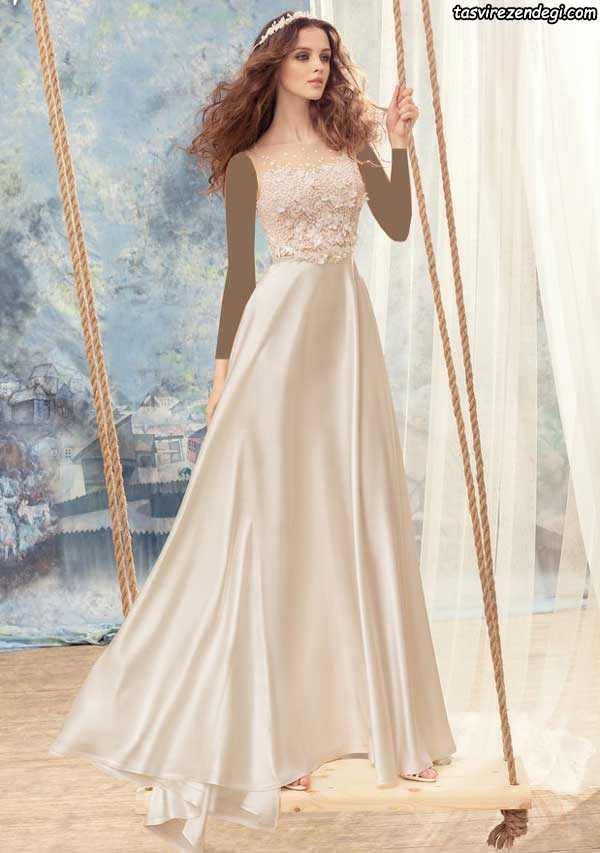 لباس عروس رنگی آستین حلقه ای
