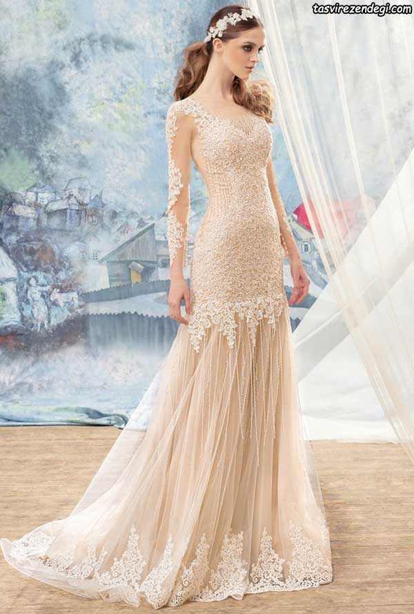 مدل لباس عروس رنگی گیپور