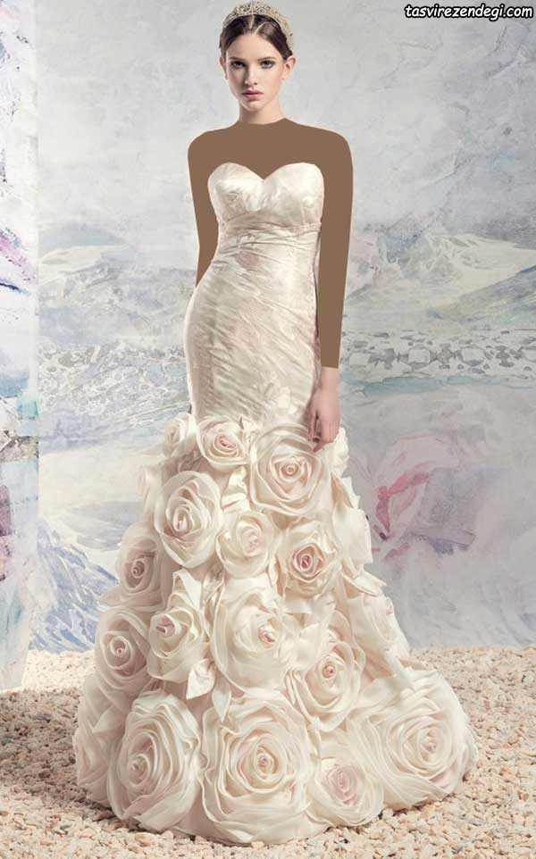 لباس عروس رنگی به گلهای رز برجسته