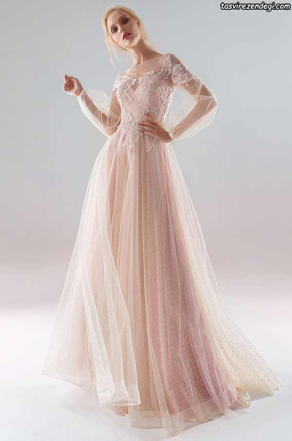 لباس عروس صورتی روشن آستین دار حریر