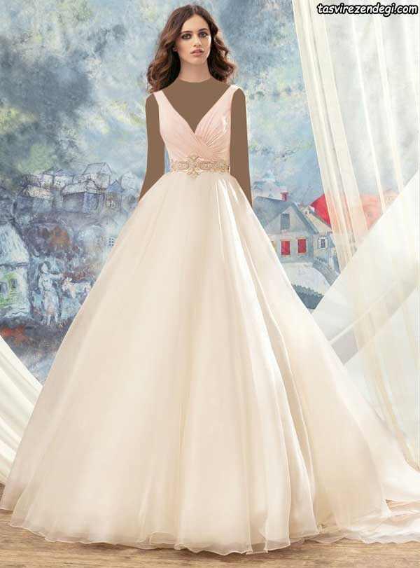 لباس عروس رنگی دامن پفی