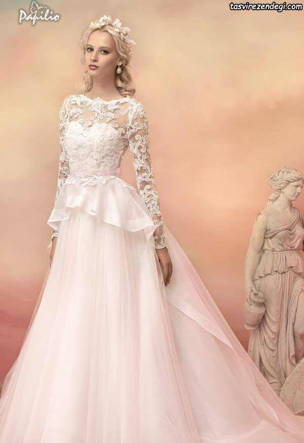 لباس عروس صورتی روشن آستین دار دامن دنباله دار