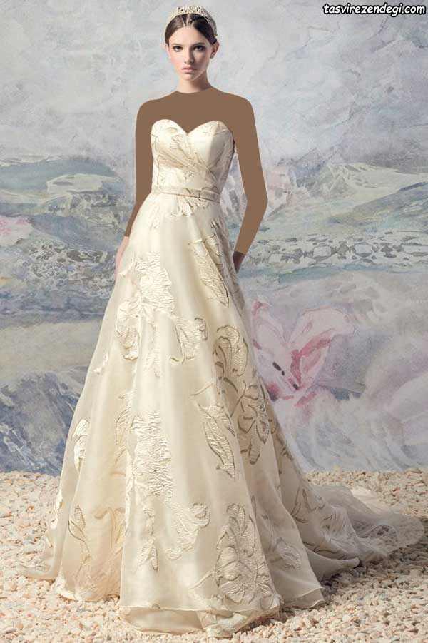لباس عروس رنگی دکلته دامن دنباله دار