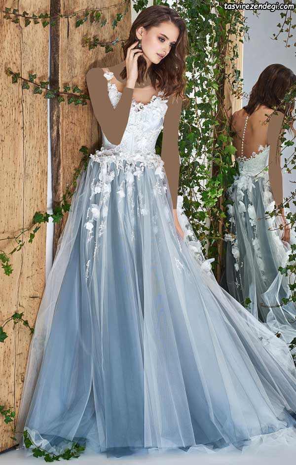 لباس عروس آبی حریر
