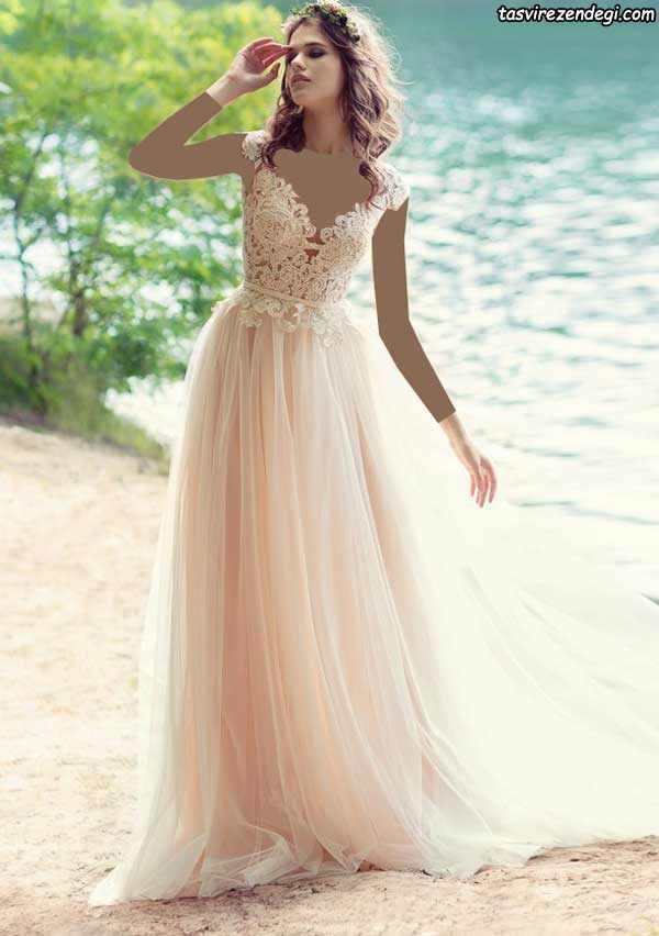 لباس عروس رنگی حریر صورتی روشن