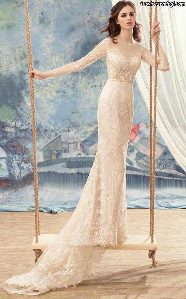 مدل لباس عروس رنگی گیپور آستین دار