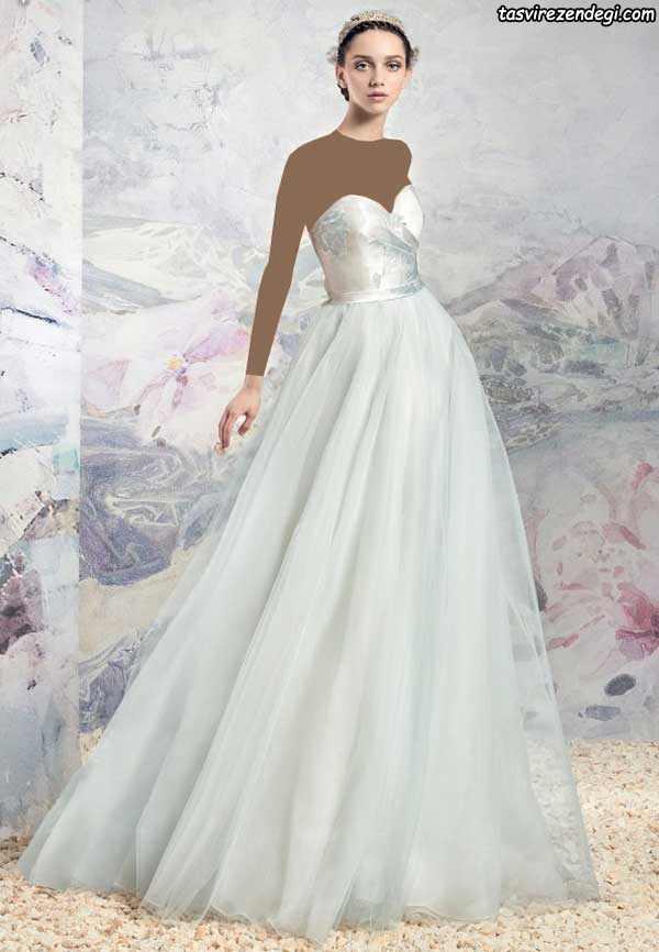 لباس عروس رنگی دکته دامن حریر دنباله دار تور سبز روشن
