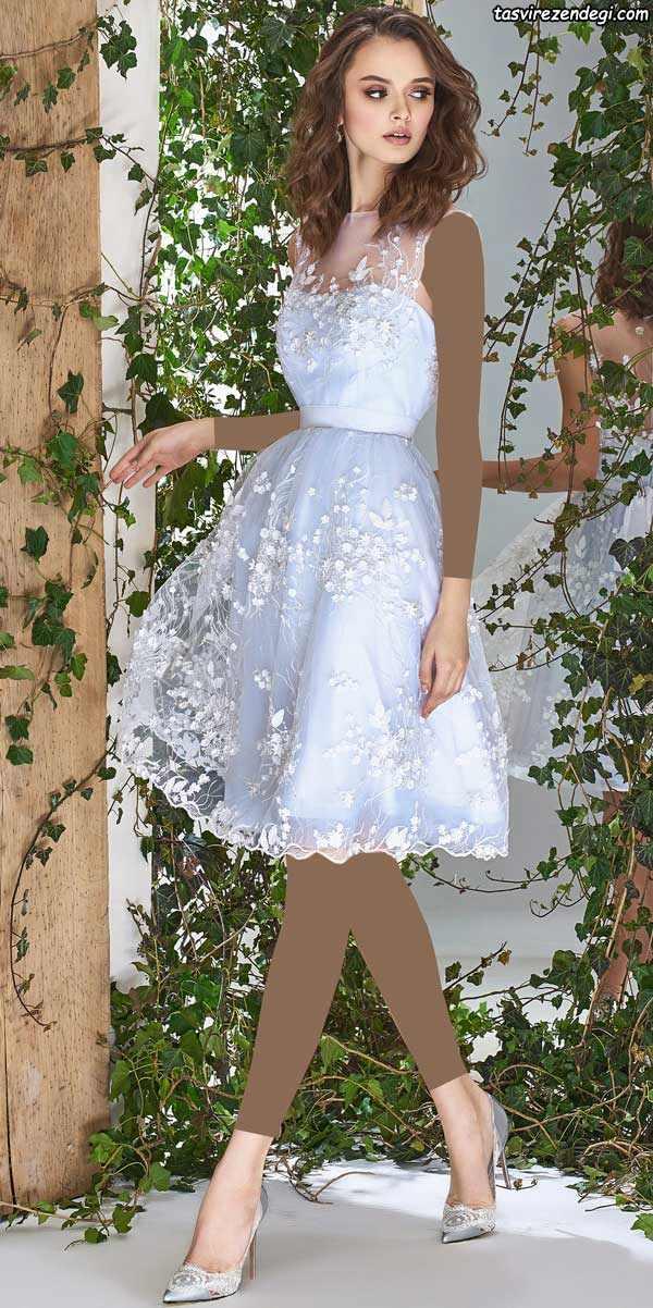 لبای عروس کوتاه آبی روشن