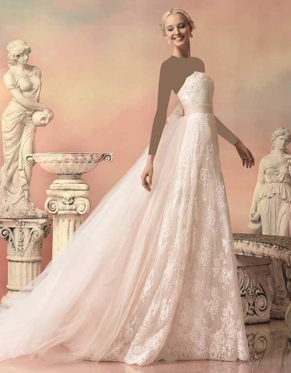 لباس عروس رنگی حریر دامن دنباله دار
