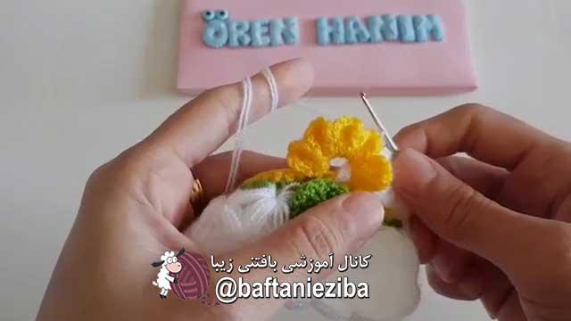 آموزش قلاب بافی , بافت پتو بچه گل برجسته