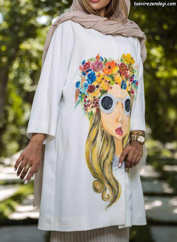مدل مانتو تابستانی سفید کوتاه دخترانه