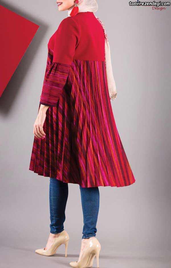 مدل مانتو تابستانی قرمز دخترانه پشت پلیسه
