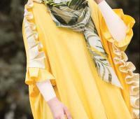 مدل مانتو تابستانی زرد چین دار