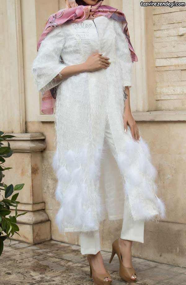 مدل مانتو مجلسی سفید بلند