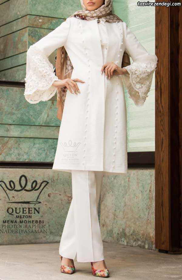مدل مانتو مجلسی عروس پوشیده کوتاه