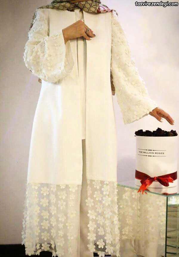 مدل مانتو مجلسی عروس شیری زنگ
