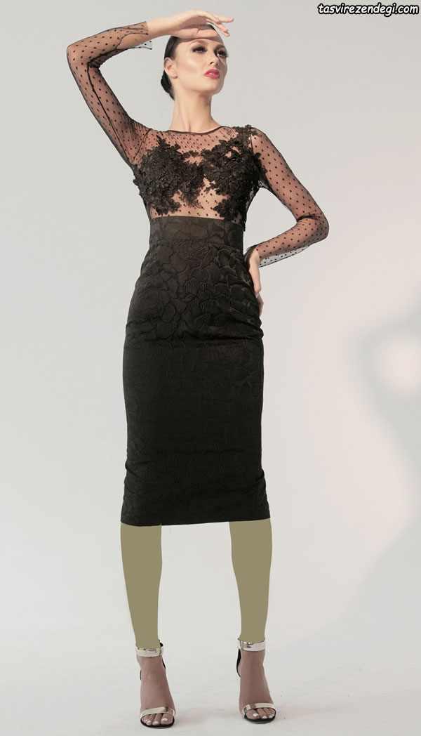 مدل لباس مجلسی مشکی بالاتنه تور