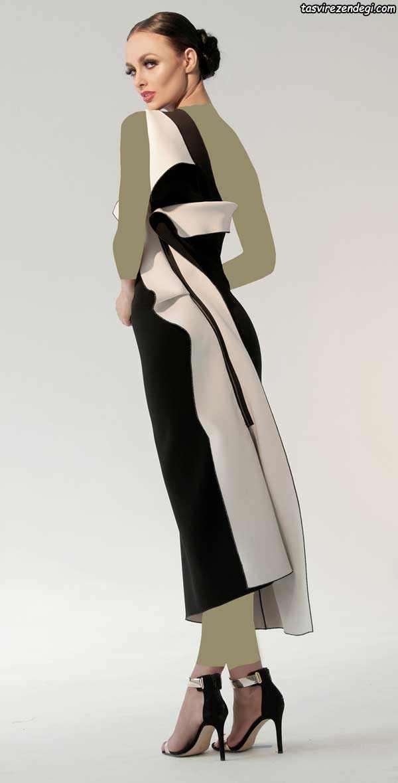لباس مجلسی سفید و مشکی