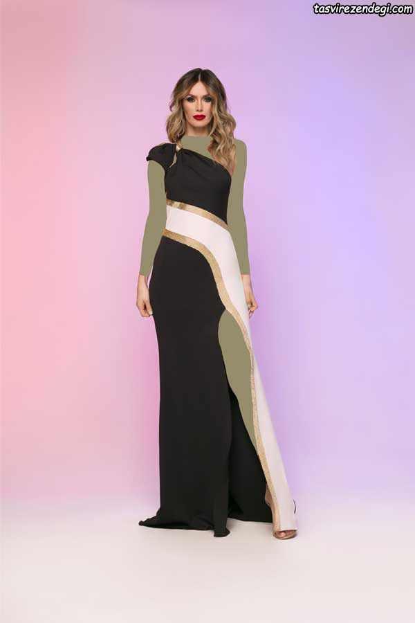 مدل لباس شب مشکی و سفید