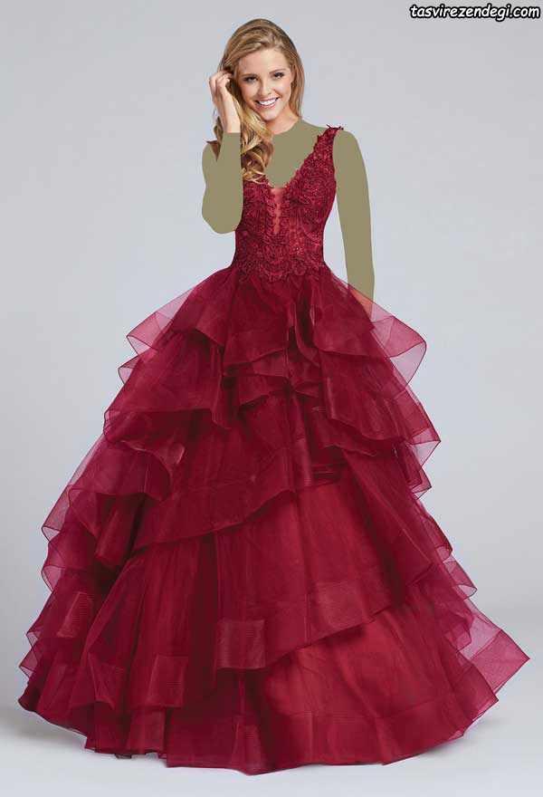 لباس مجلسی دامن پفی دو بندی قرمز